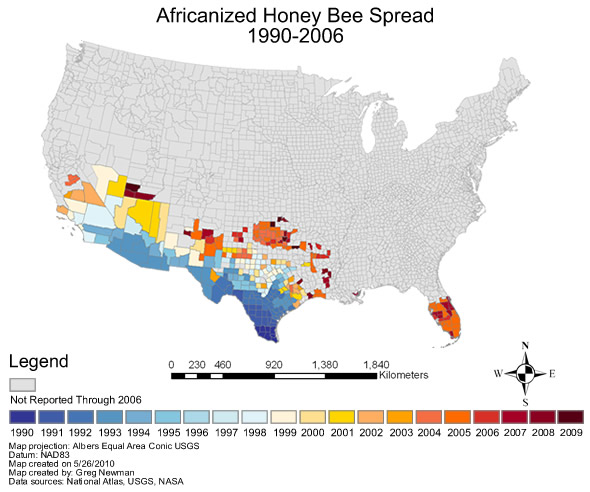 Africanized Honey Bee Spread 1990 2009